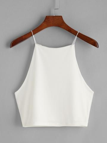 Romwe White Crop Cami Top