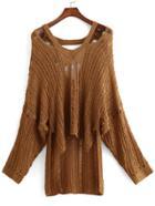 Romwe V Neck Dip Hem Hollow Sweater
