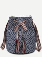 Romwe Blue Meande Pattern Canvas Bucket Bag