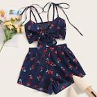 Romwe Cherry Print Tie Front Shirred Cami Top With Shorts
