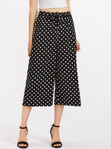 Romwe Polka Dot Self Tie Wide Leg Pants