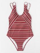 Romwe Striped Double Straps Swimsuit