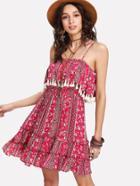 Romwe Tassel Trim Ruffle Hem Cami Dress