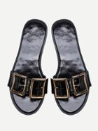 Romwe Black Open Toe Patent Leather Flat Slippers