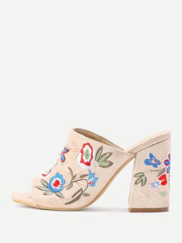 Romwe Flower Embroidery Heeled Mules