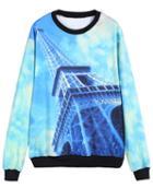 Romwe Pylon Print Loose Sweatshirt