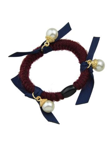 Romwe Navyblue Color Pearl Elastic Hair Rope Scrunchie