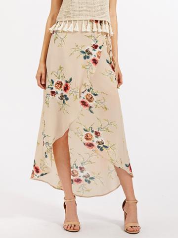 Romwe Florals Tie Detail Overlap Skirt
