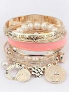 Romwe Pink Pearl Coin Bangles