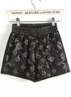 Romwe Black Elastic Waist Sequined Shorts