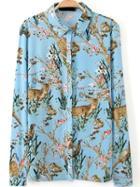 Romwe Blue Long Sleeve Animal Print Blouse
