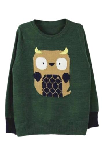 Romwe Romwe Owl Knitted Green Jumper