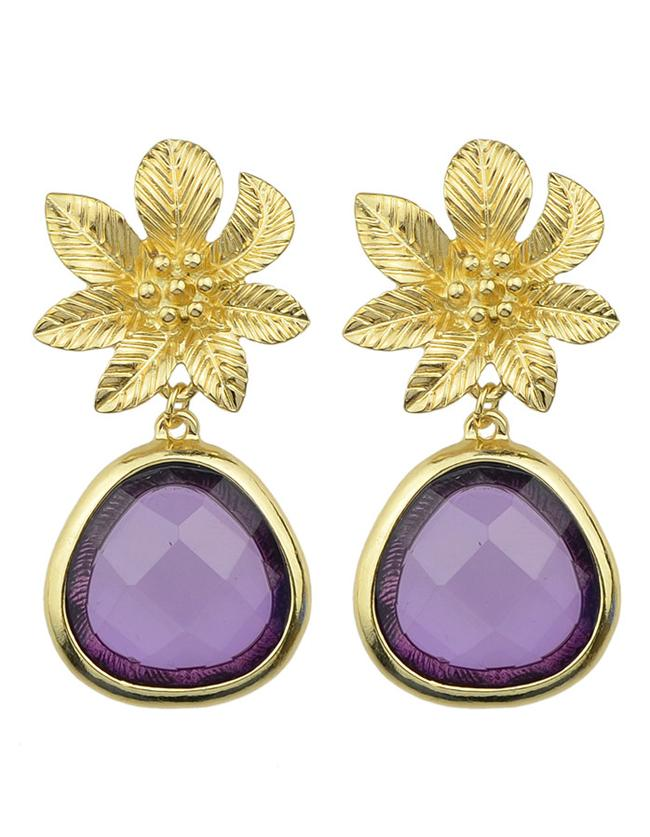 Romwe Purple Flower Shape Drop Earrings