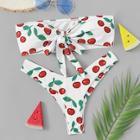 Romwe Cherry Print Bandeau With High Leg Bikini Set