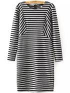Romwe Striped Tshirt Dress With Zipper