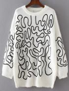 Romwe White Abstract Print Slouchy Sweater