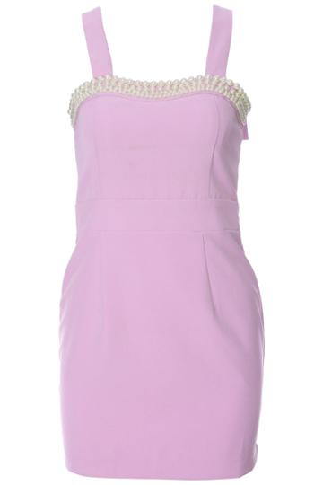 Romwe Romwe Beads Embellished Camisole Purple Dress