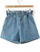 Romwe High Waist With Pockets Denim Shorts