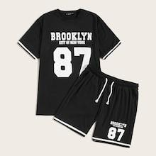Romwe Guys Varsity Print Top & Drawstring Shorts Set