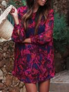 Romwe Red Blue Long Sleeve Floral Loose Dress