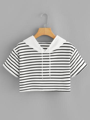 Romwe Striped Contrast Hooded Crop Tee
