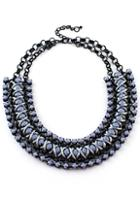 Romwe Silver Bead Black Chain Necklace