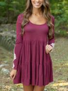 Romwe Contrast Lace Pleated Burgundy Dress