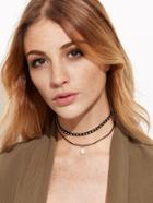 Romwe Black Faux Leather Studded Choker Double Layered Pearl Necklace