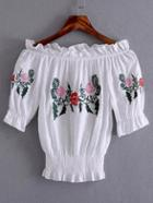 Romwe White Off The Shoulder Embroidered Blouse