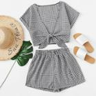 Romwe Tie Front Gingham Top With Shorts