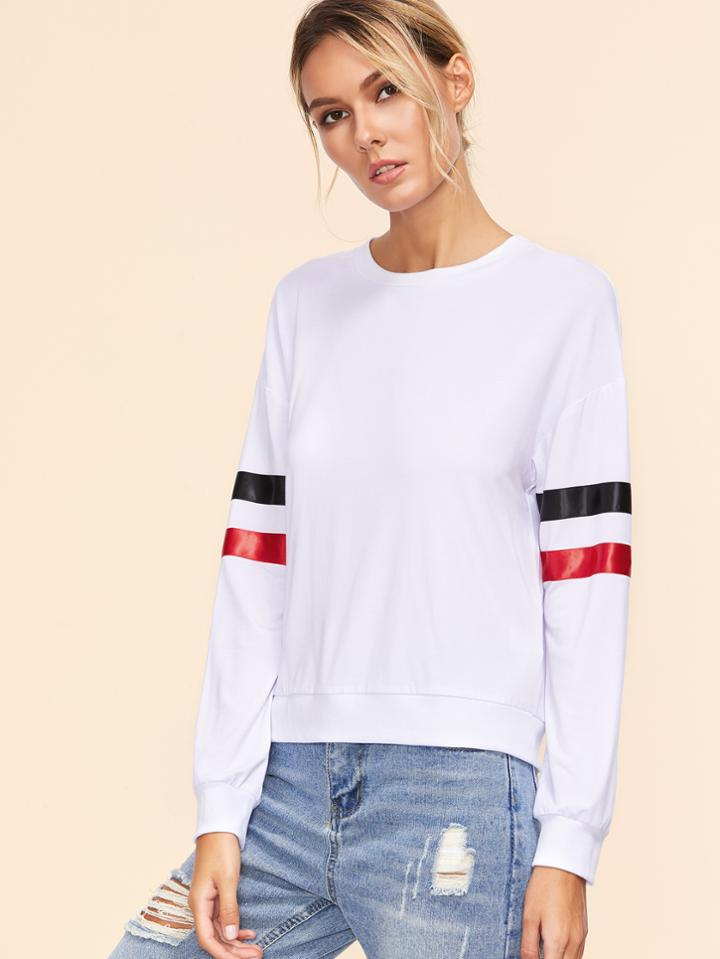 Romwe White Drop Shoulder Striped Sleeve Sweatshirt