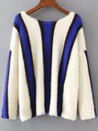 Romwe Striped Color Block Drop Shoulder Sweater