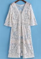 Romwe Sheer Lace Long Top