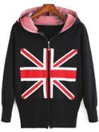 Romwe Hooded Flag Print Knit Coat