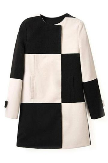 Romwe Black-white Check Long Sleeve Woolen Coat