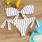 Romwe Striped Knot Front Bandeau With Tie Side Bikini Set