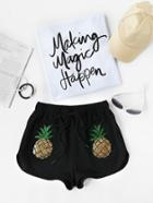 Romwe Sequin Pineapple Patch Drawstring Dolphin Shorts