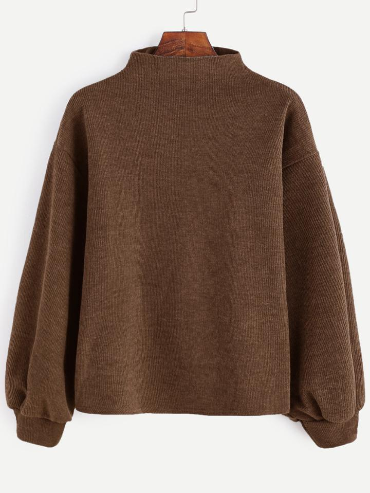 Romwe Brown Ribbed Lantern Sleeve Sweater