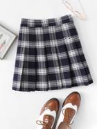 Romwe Box Pleated Plaid Skirt