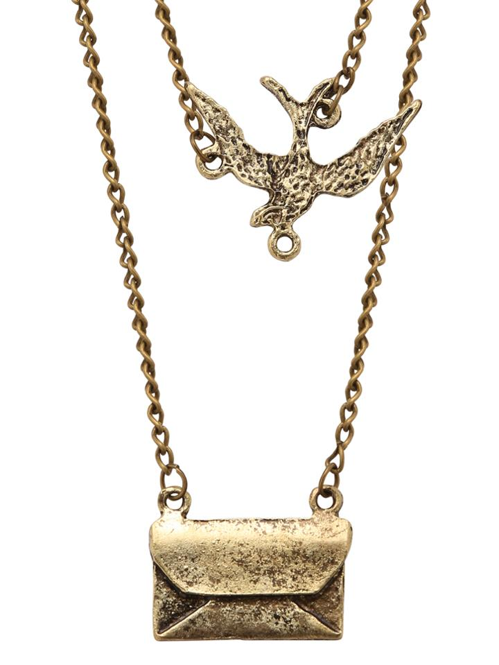 Romwe Double Chain Bird Envelope Pendants Necklace