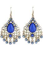 Romwe Blue Gemstone Gold Hollow Dangle Earrings