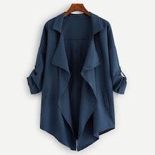 Romwe Plus Drop Shoulder Open Front Coat