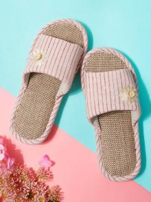 Romwe Embroidery Flower Striped Slippers