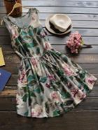 Romwe Floral Print Random Drawstring Tank Dress