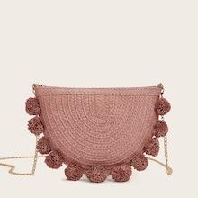 Romwe Chain Strap Pom-pom Decor Woven Crossbody Bag