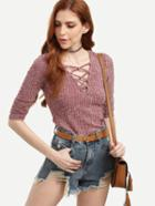 Romwe Purple Hollow Out Neck Ribbed T-shirt