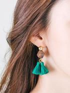 Romwe Gemstone Tassel Drop Earrings