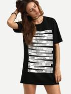 Romwe Black Letter Print Tshirt Dress