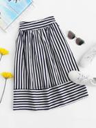 Romwe Striped Elastic Waist Skirt