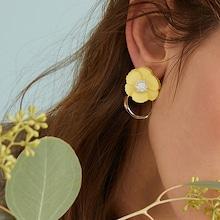 Romwe Rhinestone Flower Decor Drop Earrings 1pair